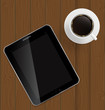 Abstract design tablet, coffee on boards Background vector Illu
