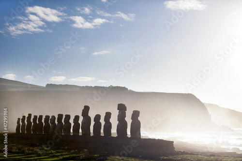 Fifteen standing moai in Easter Island