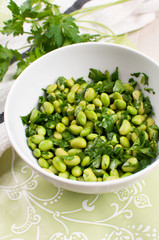 Shelled edamame beans with parsley