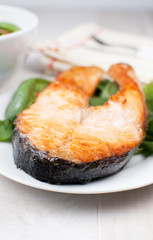 Broiled salmon steak