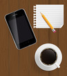 Abstract design phone, coffee, pencil, blank page on boards Back