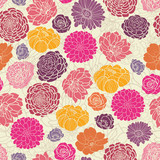 Vector Colorful abstract flowers elegant seamless pattern