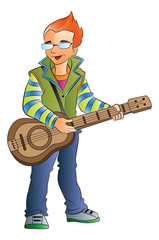 Male Guitarist, illustration