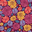 Vector colorful abstract summer flowers elegant seamless pattern - 47296728