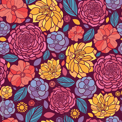 Vector colorful abstract summer flowers elegant seamless pattern