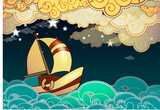 Cartoon stile ship sailing in the night