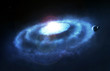 Blue galaxy ring nebula, space quasar cataclysm