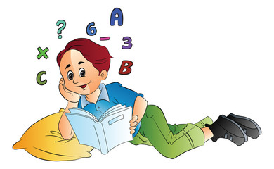 Boy Studying Math, illustration