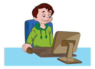 Boy Using a Desktop Computer, illustration