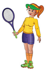 Girl Playing Tennis, illustration