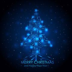 Blue digital Christmas tree