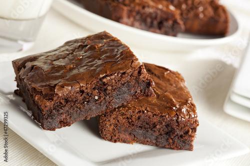 Fotobehang Bakkerij Fresh Homemade Chocolate Brownie
