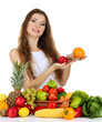 Beautiful woman with vegetables and fruits
