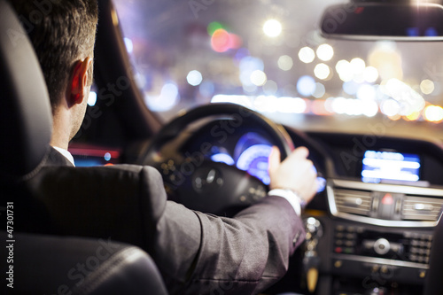 canvas print picture man driving car