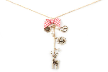 Lucky charm necklace, isolated on white