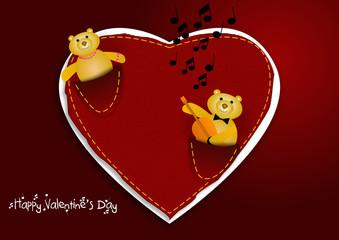 Cuore con orsetti San Valentino vector