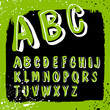 Doodles alphabet with grunge frame. Vector set, EPS8