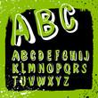 Doodles alphabet with grunge frame. Vector set, EPS8