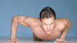 Male athlete performs modified lateral and regular  pushups