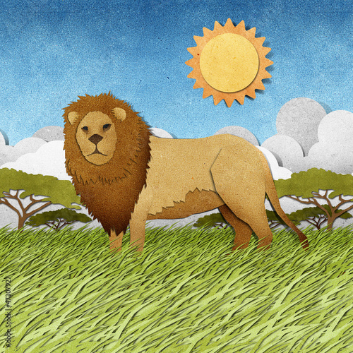 Lion made from recycled paper background