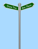 3d Render of a Street Sign Concept of Been There Done That
