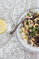 Pasta with mushrooms in a creamy sauce