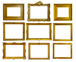 Set of gold picture frames.