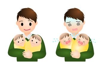 双子の赤ちゃんとパパ
