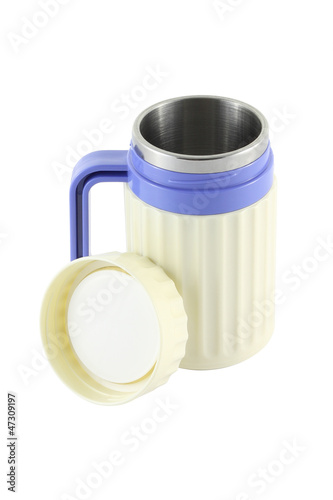 Handle plastic cooler opened with cover on white background.