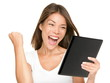 Tablet computer woman winning happy excited