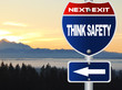 Think safety road sign