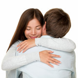 Embracing couple hugging happy