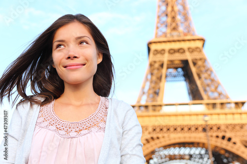 Eiffel tower Paris tourist woman
