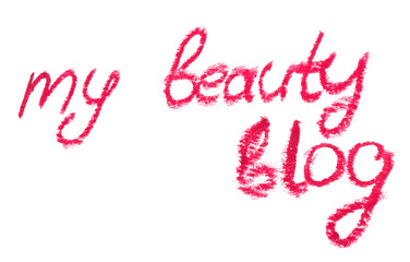 "Inscription lipstick ""beauty blog"" for personal diary"