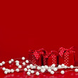 Red Christmas background with gift boxes
