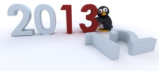 Glossy Penguin Character bringing in the new year