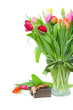 fresh tulips with present