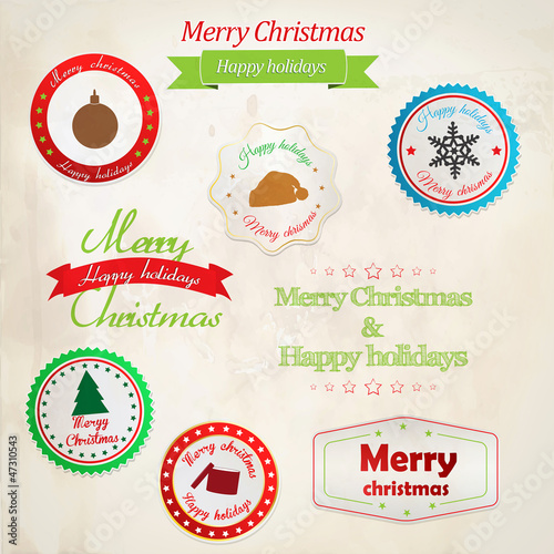 Set of christmas labels. Vector