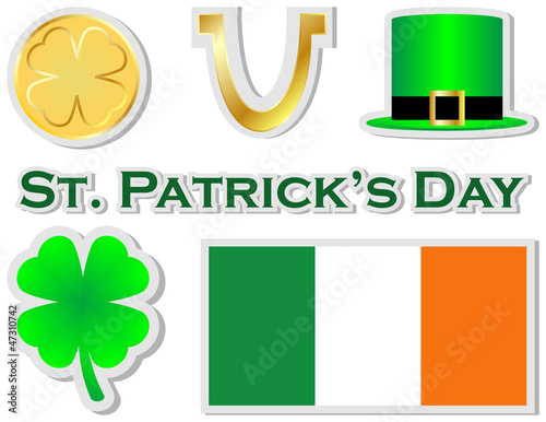 Set of St Patricks Day Stickers