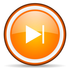 next orange glossy circle icon on white background