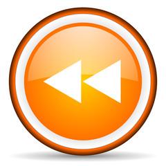 scroll orange glossy circle icon on white background