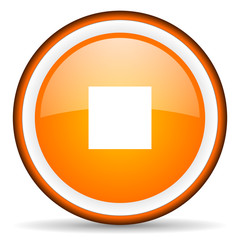 stop orange glossy circle icon on white background