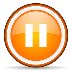 pause orange glossy circle icon on white background
