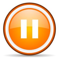 pause orange glossy circle icon on white background