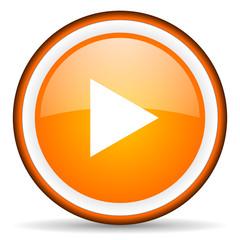 play orange glossy circle icon on white background