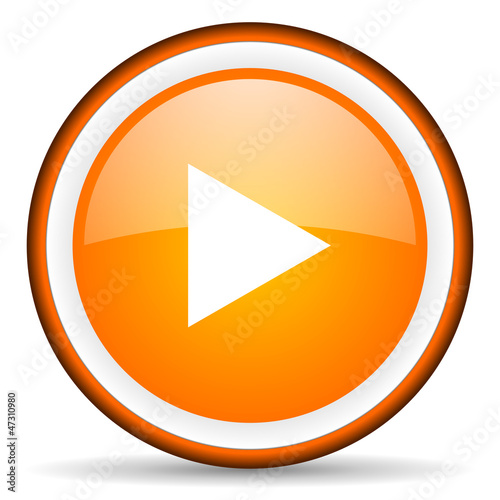 play orange glossy circle icon on white background