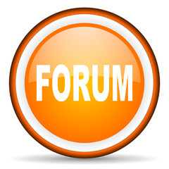 forum orange glossy circle icon on white background