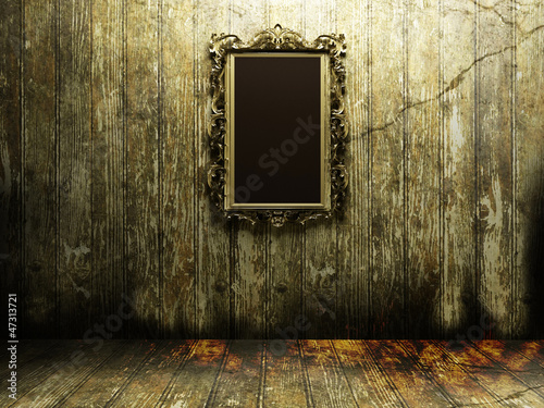 antique mirror in a dark room