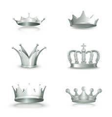 Silver crowns, set