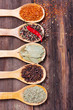Five kinds of spices in the spoons